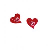 Деревянная пуговица красное сердце с надписью