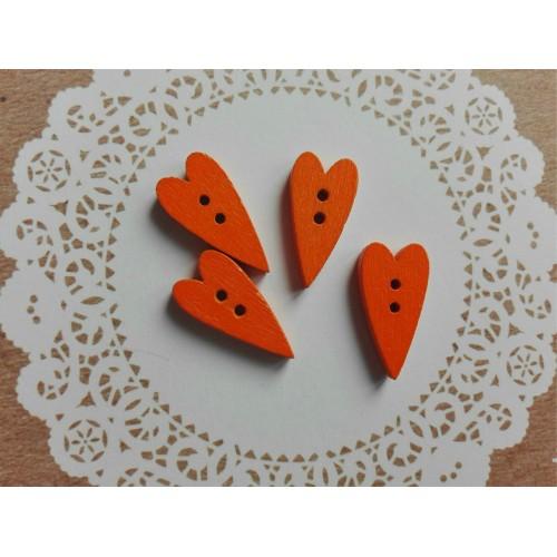 купить деревянные пуговицы Сердечки оранжевые
