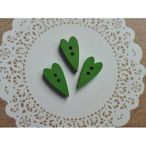 купить деревянные пуговицы Сердечки зеленые