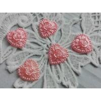 Кабошон Сердце розовое
