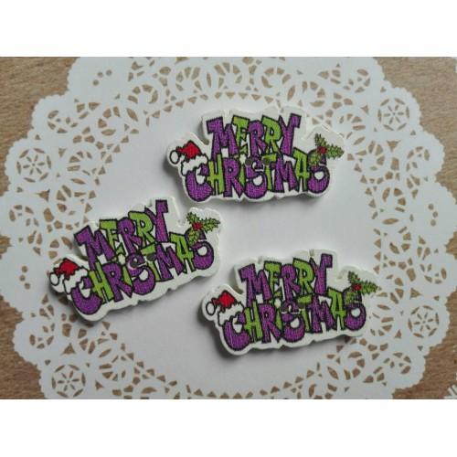 купить пуговицы деревянные Merry Christmas фиолетовые