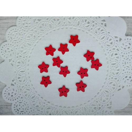 Деревянная пуговица Звездочка красная 13 мм фото