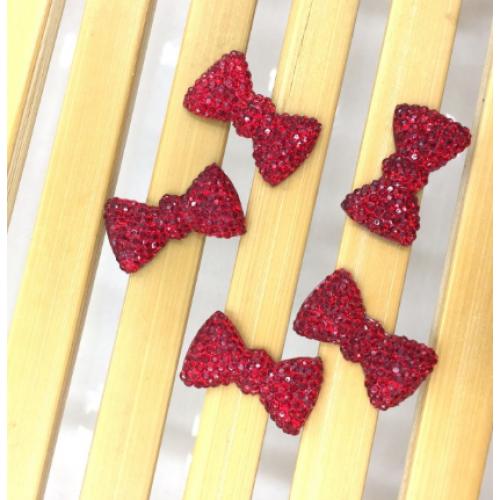 Кабошон Бантик красный, 20*11 мм фото