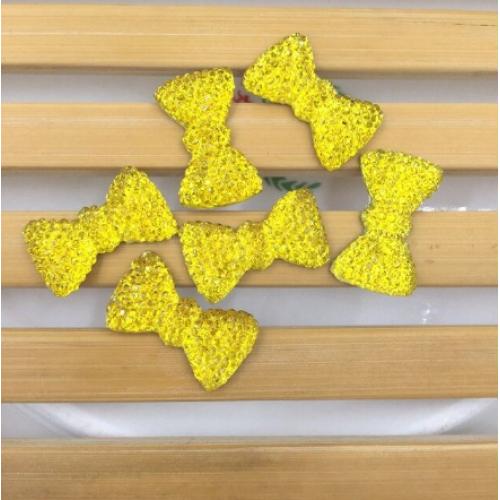 Кабошон Бантик желтый, 20*11 мм