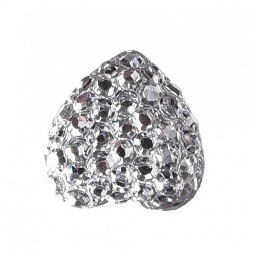 Серединка Сердце в пупырышки серебро
