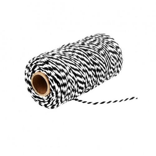 Шнур хлопковый 2-х слойный черно-белый, 1 м