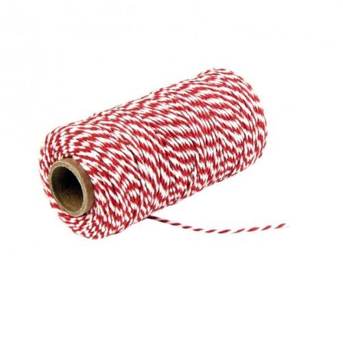Шнур хлопковый 2-х слойный красно-белый, 1 м