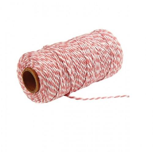 Шнур хлопковый 2-х слойный розово-белый, 1 м