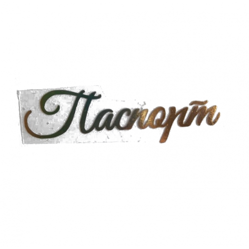 """Надпись из термотрансферной пленки """"Паспорт №1"""", Золото"""