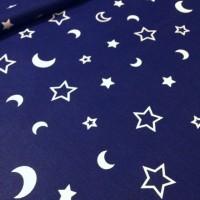 Ткань хлопок Звезды и месяц на синем фоне, 40*50 см