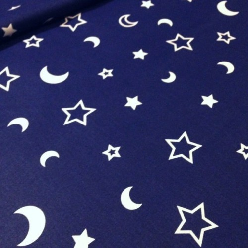 Ткань хлопок Звезды и месяц на синем фоне
