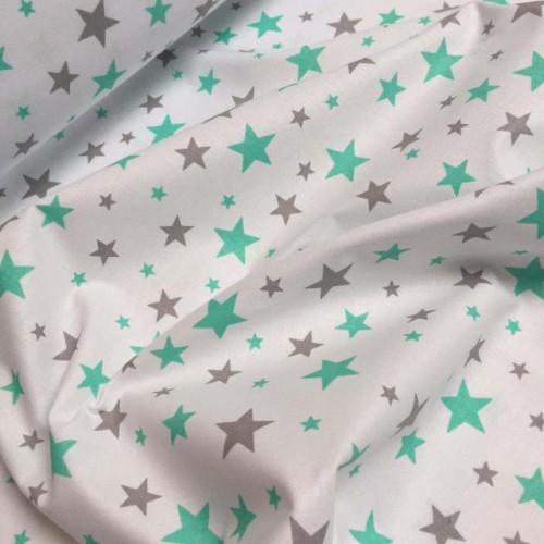 Ткань хлопок Звезды мятные и серые на белом фоне фото