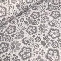 Ткань хлопок Кружева серые на белом фоне, 40*50 см