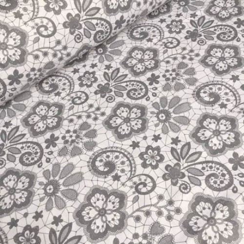 Ткань хлопок Кружева серые на белом фоне