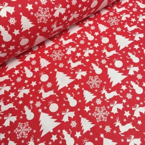 Ткань хлопок Снеговики, елки и олени на красном фоне