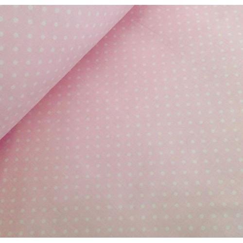 Ткань хлопок Горошек 4 мм на розовом фоне фото