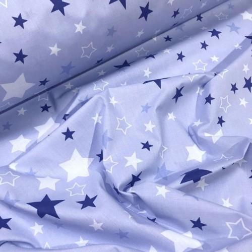 Ткань хлопок Разноцветный звездопад на голубом фоне