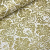 Ткань хлопок Дамаск золотой на белом фоне, 50*50 см