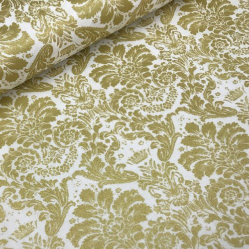 Ткань хлопок Дамаск золотой на белом фоне