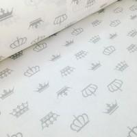 Ткань хлопок Серые короны на белом фоне, 40*50 см