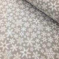 Ткань хлопок Снежинки на сером фоне, 40*50 см