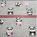 Ткань хлопок панда в розовом на сером, 40*50 см