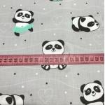Ткань хлопок панда в мятном на сером, 40*50 см