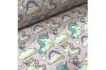 Ткань хлопок единороги с радугой на розовом фоне, 40*50 см
