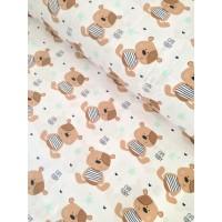 Ткань хлопок мишки Тэдди с мятными звездами на белом, 40*50 см