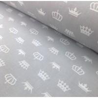 Ткань хлопок Белые короны на сером фоне, 40*50 см