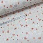 Ткань хлопок поплин Красные и серебряные снежинки (глиттер) на белом фоне, 40*50 см