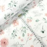 Ткань хлопок цветочки персикового цвета с зелеными веточками на белом, 40х50 см