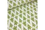 Ткань хлопок зеленые елочки с шариками на белом, 40*50 см