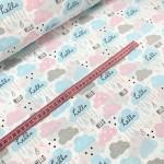 """Ткань хлопок """"Облака Нello"""" серо-розовые и голубые на белом фоне фото"""