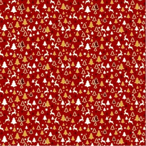 Ткань хлопок мелкие олени и елочки (глиттер) на красном фоне, фото