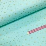 Ткань хлопок поплин Золотистый звездопад (глиттер) на мятном фоне, фото