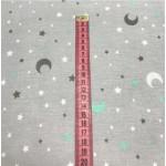 Ткань хлопок Месяц и звезды белые, серые и мятные на сером фоне, фото