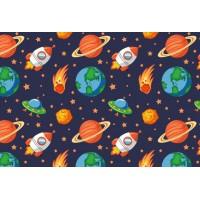 Ткань хлопок Космос с ракетами, 40*50 см