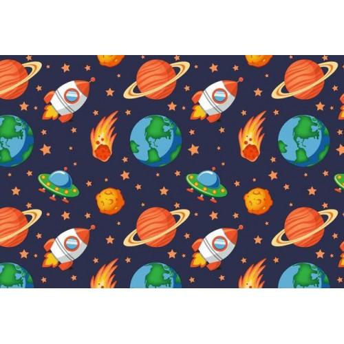 Ткань хлопок Космос с ракетами фото