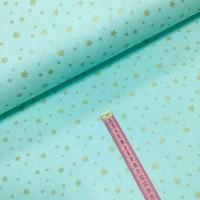Ткань хлопок поплин Золотистый звездопад (глиттер) на мятном фоне, 40*50 см