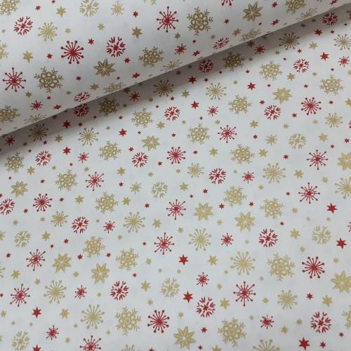 Ткань хлопок поплин красно-золотые снежинки на белом (глиттер), фото