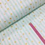 Хлопковая ткань Розовая полоска с золотыми (глиттер) сердечками на мятном фоне, фото