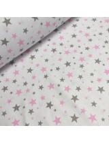 Ткань хлопок Звезды мятные и розовые на белом фоне, 40*50 см