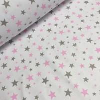 Ткань хлопок Звезды серые и розовые на белом фоне, 40*50 см
