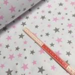 Ткань хлопок Звезды серые и розовые на белом фоне фото