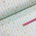 Хлопковая ткань Мятная полоска с золотыми (глиттер) сердечками на белом фоне, 40*50 см