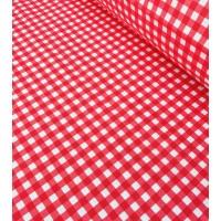 Ткань хлопок клетка красная, 40*50 см