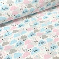 """Ткань хлопок """"Облака Нello"""" серо-розовые и голубые на белом фоне, 40*50 см"""