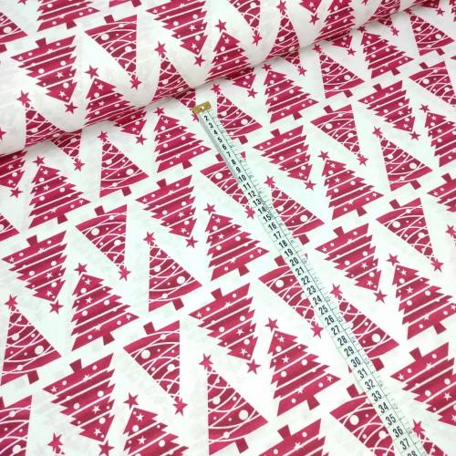 Ткань хлопок красные елочки с шариками на белом, 40*50 см