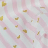Хлопковая ткань Розовая полоска с золотыми (глиттером) сердечками на белом фоне, 40*50 см